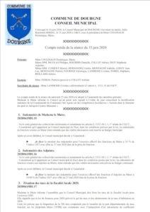 Compte rendu du Conseil Municipal du 20 juillet 2020
